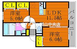 仮)D-room今保 3階2LDKの間取り