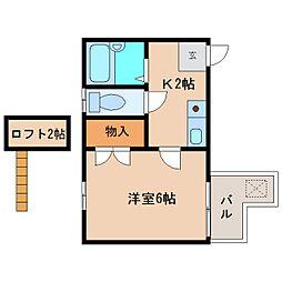 静岡県静岡市清水区堂林2丁目の賃貸アパートの間取り