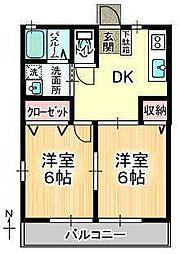 粟の郷 1階2DKの間取り