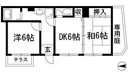ノーブル甲東園[1階]の間取り