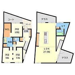 [一戸建] 北海道札幌市厚別区厚別東五条2丁目 の賃貸【/】の間取り