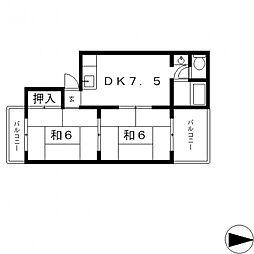 菱屋西ハウス[102号室号室]の間取り