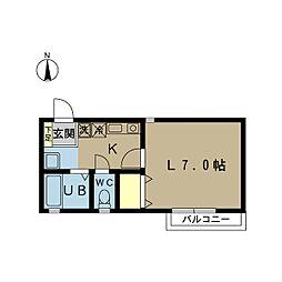 ガーデンヒルズ II[202号室]の間取り