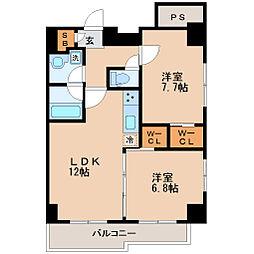 仙台市営南北線 勾当台公園駅 徒歩10分の賃貸マンション 14階2LDKの間取り