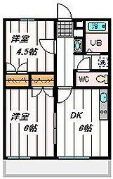 埼玉県さいたま市岩槻区岩槻字江川の賃貸マンションの間取り