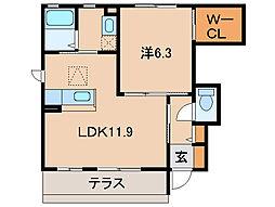 和歌山県和歌山市関戸1丁目の賃貸アパートの間取り