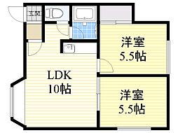 北海道札幌市北区篠路町上篠路の賃貸アパートの間取り
