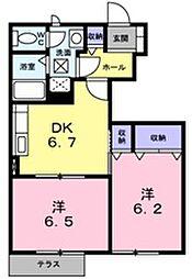 兵庫県明石市魚住町長坂寺の賃貸アパートの間取り