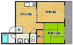 ハイツ菊水[4階]の間取り