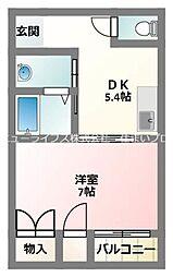 京阪本線 大和田駅 徒歩15分の賃貸マンション 3階1DKの間取り