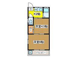 コーポ新堀I[2階]の間取り