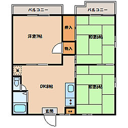 ハイツ・ハナブサ2[2階]の間取り