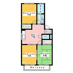 レジデンス金蔵 B棟[1階]の間取り