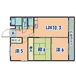 JR日豊本線 国分駅 徒歩30分の賃貸マンション 2階3LDKの間取り