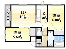バス 屯田南小学校前下車 徒歩2分の賃貸アパート 2階2LDKの間取り