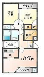 ポンテフィーコ[2階]の間取り