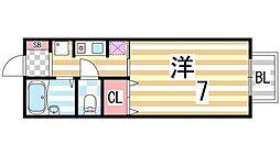 大阪府四條畷市大字中野の賃貸アパートの間取り
