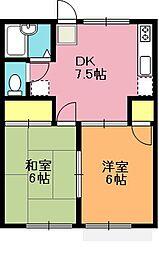 埼玉県上尾市大字平方の賃貸アパートの間取り
