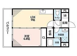 筑豊電気鉄道 熊西駅 徒歩2分の賃貸マンション 3階1LDKの間取り