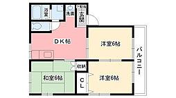 兵庫県西宮市樋ノ口町2丁目の賃貸アパートの間取り