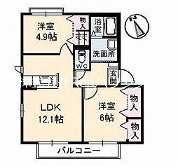 JR鳴門線 立道駅 8.8kmの賃貸アパート 1階2LDKの間取り
