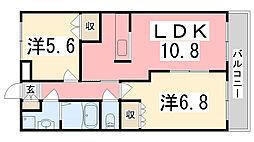 兵庫県加古川市別府町新野辺北町1丁目の賃貸アパートの間取り