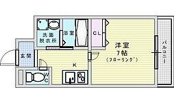 阪急千里線 淡路駅 徒歩7分の賃貸マンション 4階1Kの間取り
