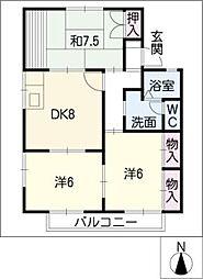 セジュール清里[2階]の間取り