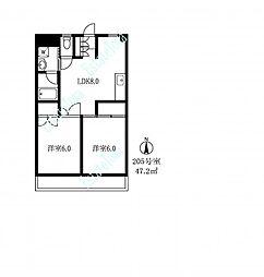 119002 エクセレント駒沢[2階]の間取り