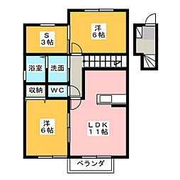 ブルーメ A棟[2階]の間取り