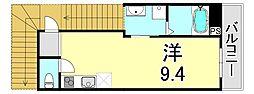 シャルマン神戸三宮 3階ワンルームの間取り
