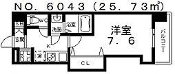 JR大阪環状線 芦原橋駅 徒歩3分の賃貸マンション 3階1Kの間取り