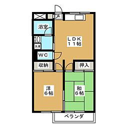 クレイン鎌倉 3階2LDKの間取り