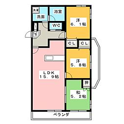 静岡県静岡市葵区安東1丁目の賃貸マンションの間取り