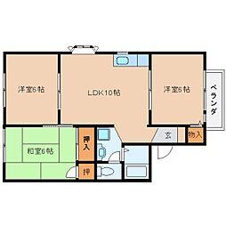 奈良県桜井市河西の賃貸アパートの間取り
