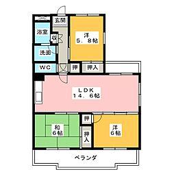 サンライズ558[4階]の間取り