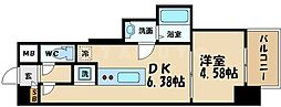 AVERE京阪本通 3階1DKの間取り
