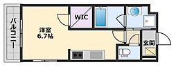 阪神本線 甲子園駅 徒歩20分の賃貸マンション 1階1Kの間取り