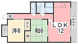 出屋敷ハイツ[1-D号室]の間取り