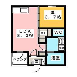 愛知県名古屋市港区津金1の賃貸アパートの間取り