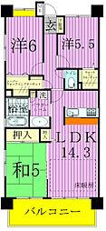 レジディア東松戸[302号室]の間取り
