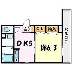 レオン呉羽[3階]の間取り