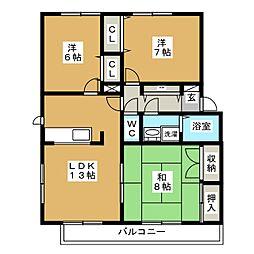 ボヌールヨシダ[1階]の間取り
