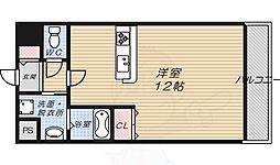 プラリア牧野阪 3階1Kの間取り
