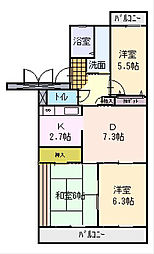 静岡県袋井市堀越の賃貸マンションの間取り