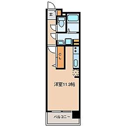 仙台市営南北線 五橋駅 徒歩14分の賃貸マンション 3階ワンルームの間取り