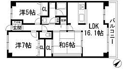 兵庫県宝塚市月見山2丁目の賃貸マンションの間取り