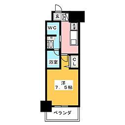 パークアクシス名古屋山王橋 13階1Kの間取り