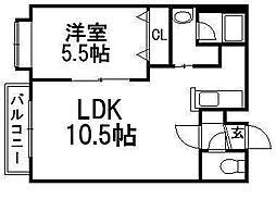 NOVA二十四軒[2階]の間取り