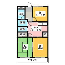 中仙道レジデンス[2階]の間取り
